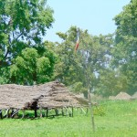 Here is the old thatched-roof schoolhouse in the village of Kindiri