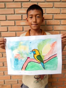 Lavy with his bird painting