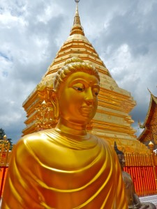 One of several golden Buddha statues at Doi Suthep