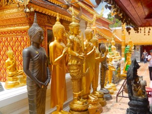 Several golden Buddha statues at Doi Suthep