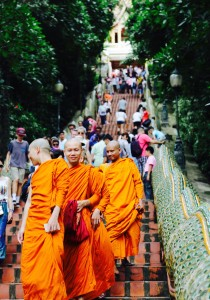"Monks descending the double naga ""Stairway to Heaven"" at Wat Phra That. Chiang Mai, Thailand"