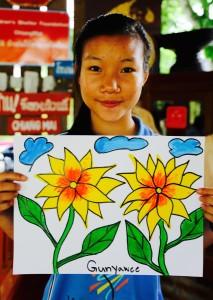 Gunyawee with her 2 flowers