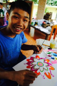 Phnom working on a mandala design in our art workshop. Chiang Mai